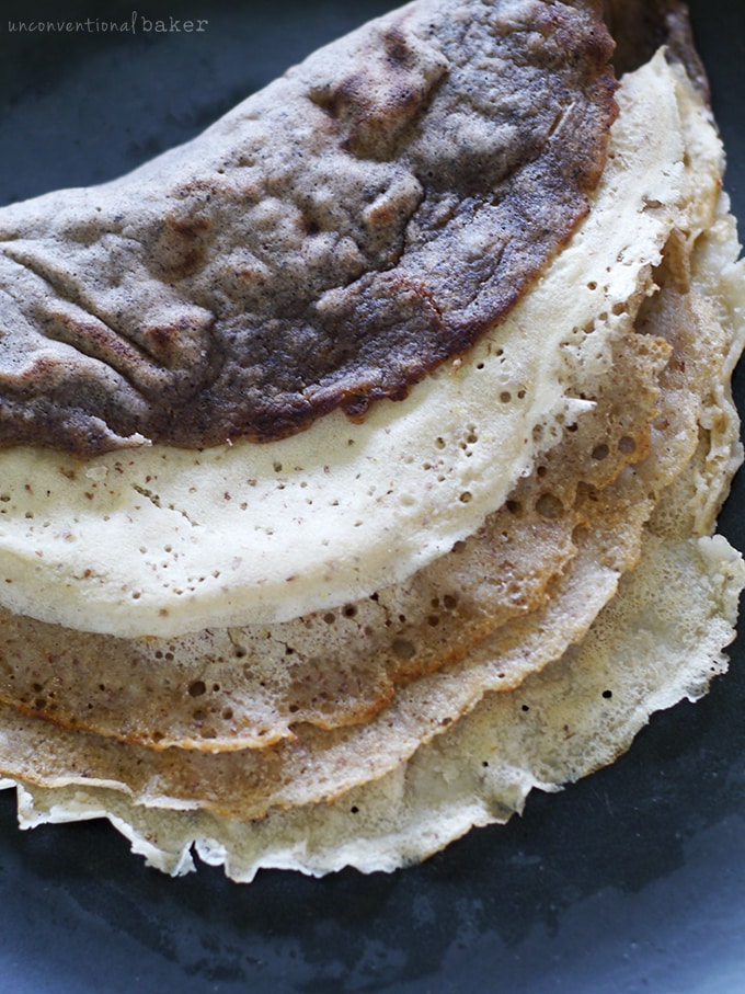Easy 3-Ingredient Crepes {Free from Gluten, Dairy, Eggs, soy, nuts, corn, and Refined Sugars}