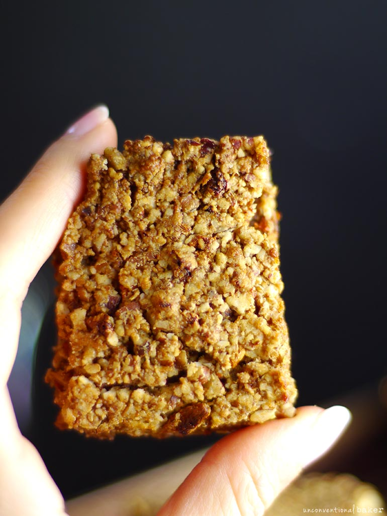 Goji Pecan Cookie Bars (Free From: gluten & grains, dairy, eggs, oils, and refined sugar)